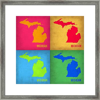 Michigan Pop Art Map 1 Framed Print by Naxart Studio