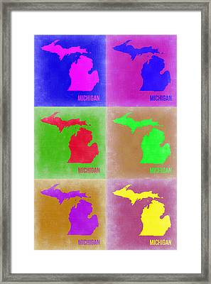 Michigan Pop Art Map 2 Framed Print by Naxart Studio