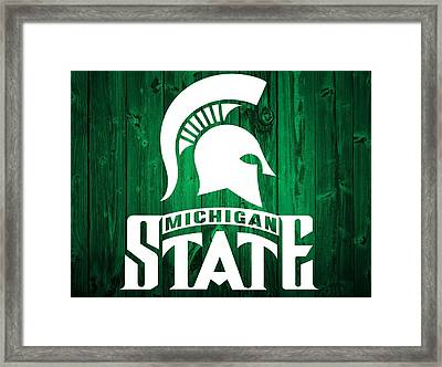 Michigan State Barn Door Framed Print by Dan Sproul