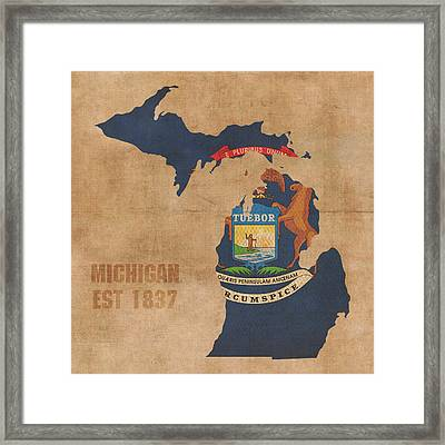 Michigan State Flag Map Outline With Founding Date On Worn Parchment Background Framed Print by Design Turnpike