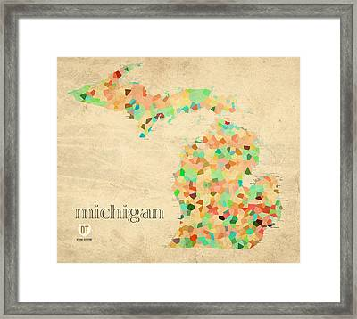 Michigan State Map Crystalized Counties On Worn Canvas By Design Turnpike Framed Print by Design Turnpike