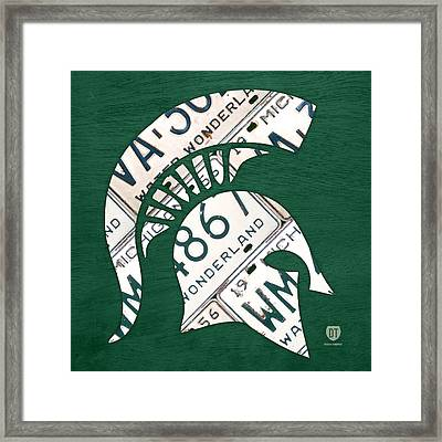 Michigan State Spartans Sports Retro Logo License Plate Fan Art Framed Print by Design Turnpike