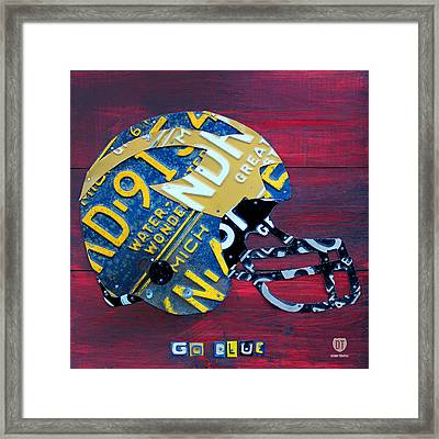 Michigan Wolverines College Football Helmet Vintage License Plate Art Framed Print