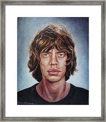 Framed Print featuring the painting Mick Jaggar by Melinda Saminski