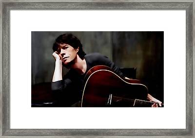 Mick Jagger And Guitar Framed Print
