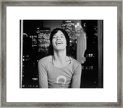 Mick Jagger Laughing Framed Print