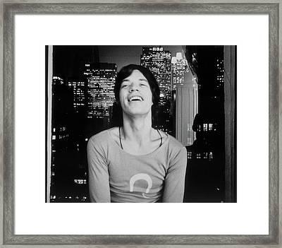 Mick Jagger Laughing Framed Print
