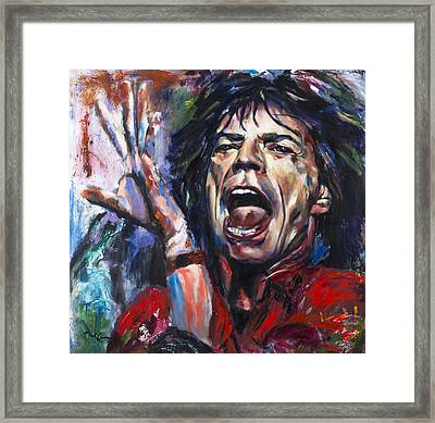 Mick Jagger Framed Print by Mark Courage