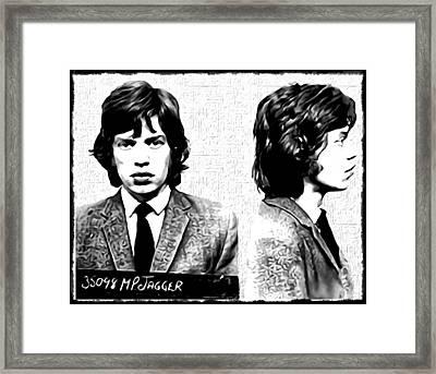 Mick Jagger Mugshot In Black And White Framed Print