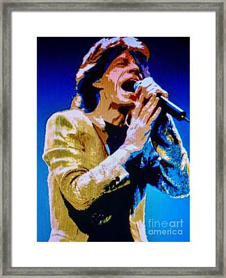 Mick Jagger Pop Art Framed Print by Ryszard Sleczka