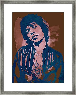 Mick Jagger - Pop Stylised Art Sketch Poster Framed Print by Kim Wang
