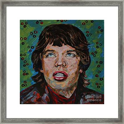 Mick Jagger Portrait Framed Print by Robert Yaeger