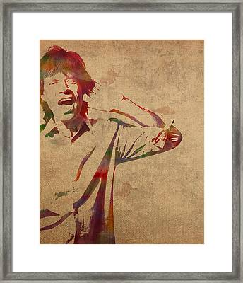 Mick Jagger Rolling Stones Watercolor Portrait On Worn Distressed Canvas Framed Print by Design Turnpike