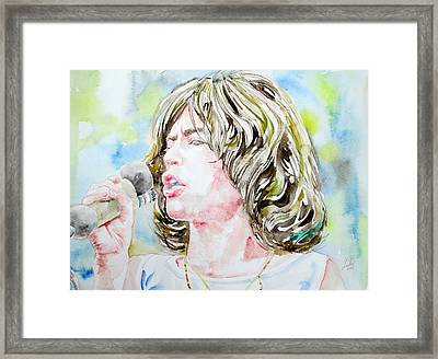 Mick Jagger Singing Watercolor Portrait Framed Print by Fabrizio Cassetta