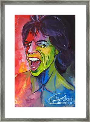 Mick Jagger Framed Print by Tim Patch