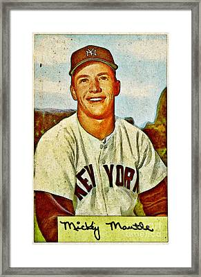 Mickey Mantle Baseball Card Framed Print by Kerry Gergen