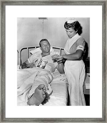 Mickey Mantle In Hospital With Nurse Framed Print