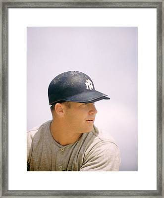 Mickey Mantle Ready To Swing Framed Print by Retro Images Archive
