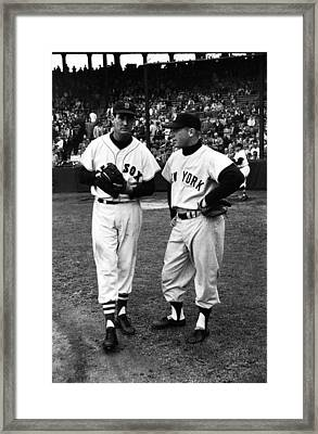 Mickey Mantle With Ted Williams Framed Print