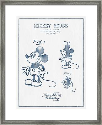 Mickey Mouse Patent From 1930 - Blue Ink Framed Print by Aged Pixel