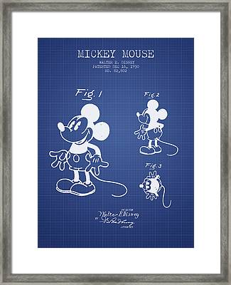 Mickey Mouse Patent From 1930- Blueprint Framed Print by Aged Pixel