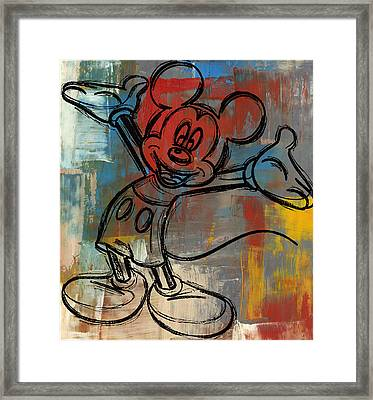 Mickey Mouse Sketchy Hello Framed Print by Paulette B Wright