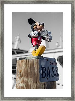 Mickey On A Post Framed Print by Scott Campbell
