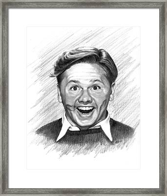 Mickey Rooney Framed Print by Lou Ortiz