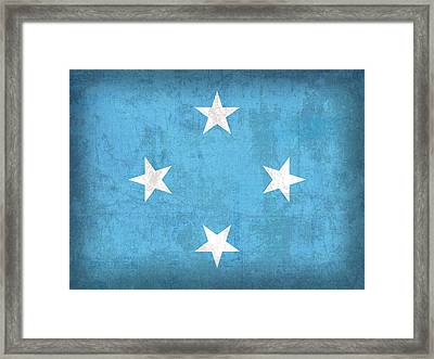 Micronesia Flag Vintage Distressed Finish Framed Print by Design Turnpike