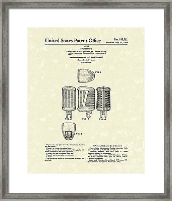 Microphone 1959 Patent Art Framed Print by Prior Art Design