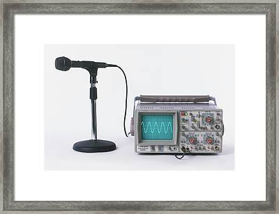 Microphone Connected To Oscilloscope Framed Print