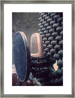 Microphone - In The Studio Framed Print by Brian Howard