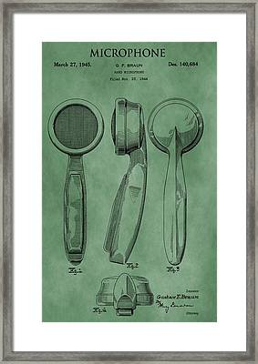 Microphone Patent Green Framed Print