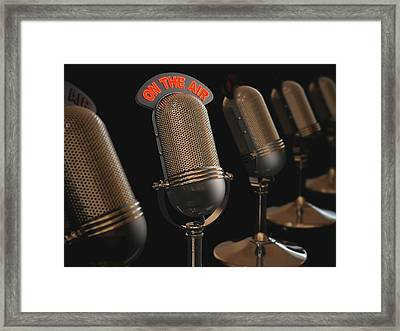 Microphones Framed Print by Ktsdesign/science Photo Library