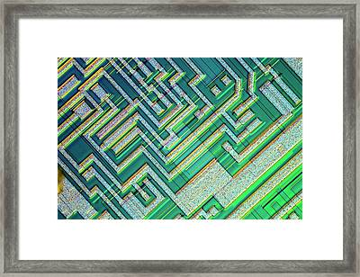 Microprocessor Chip Framed Print by Alfred Pasieka