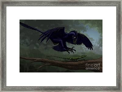 Microraptor Hunting A Small Lizard Framed Print by Vitor Silva