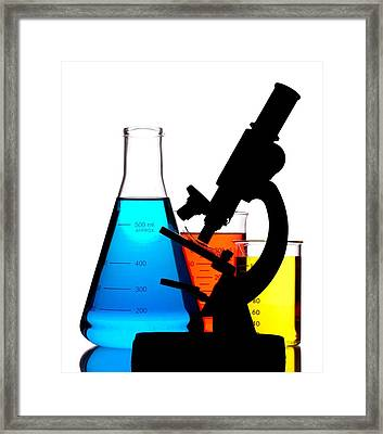 Microscope In Laboratory Framed Print by Jim Hughes