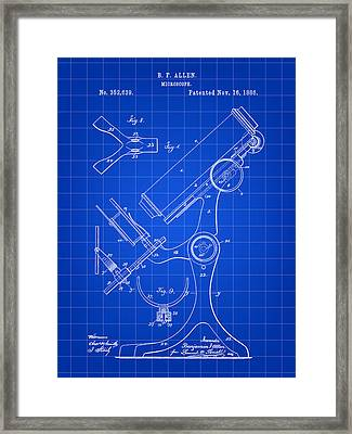 Microscope Patent 1886 - Blue Framed Print