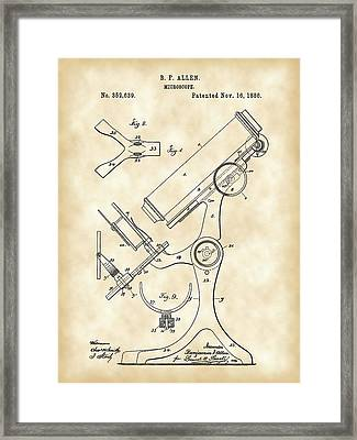 Microscope Patent 1886 - Vintage Framed Print
