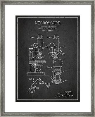Microscope Patent Drawing From 1919- Dark Framed Print