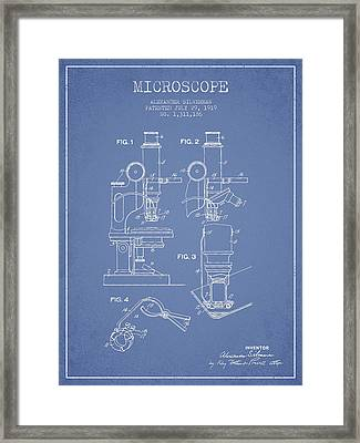 Microscope Patent Drawing From 1919- Light Blue Framed Print by Aged Pixel