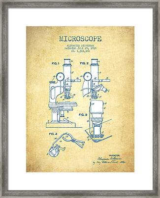 Microscope Patent Drawing From 1919- Vintage Paper Framed Print by Aged Pixel
