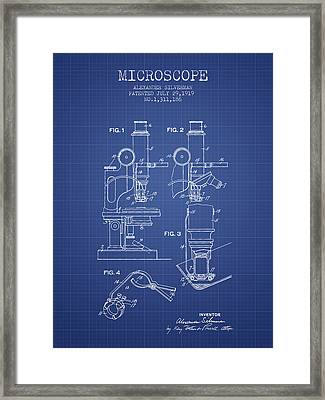 Microscope Patent From 1919 - Blueprint Framed Print by Aged Pixel