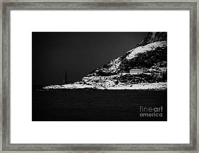 Microwave Relay Communications Station On The Outskirts Of Oksfjord During Winter Norway Europe Framed Print