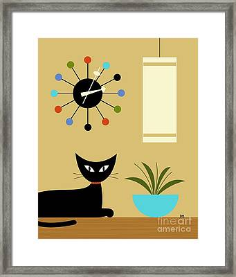 Mid Century Ball Clock 2 Framed Print by Donna Mibus