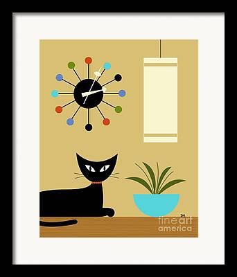 Orange Cat Digital Art Framed Prints