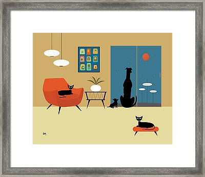 Mid Century Dogs And Cats Framed Print by Donna Mibus