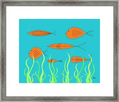 Framed Print featuring the digital art Mid Century Fish 2 by Donna Mibus