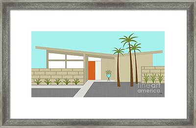 Mid Century Modern House 1 Framed Print by Donna Mibus