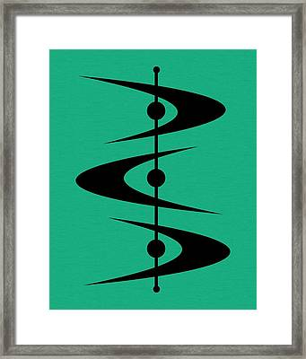 Mid Century Shapes 3 On Aqua Framed Print by Donna Mibus